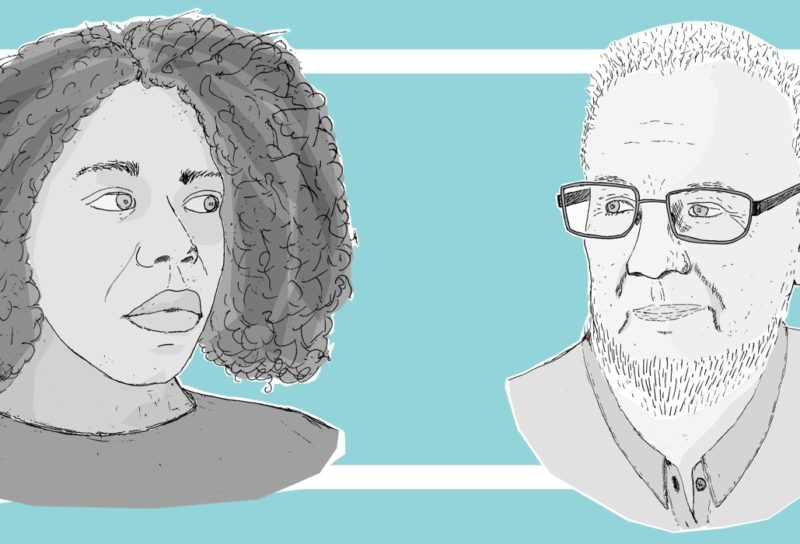 Sketches of Tom Knight and Sarah Richardson, the two people featured in this conversation.